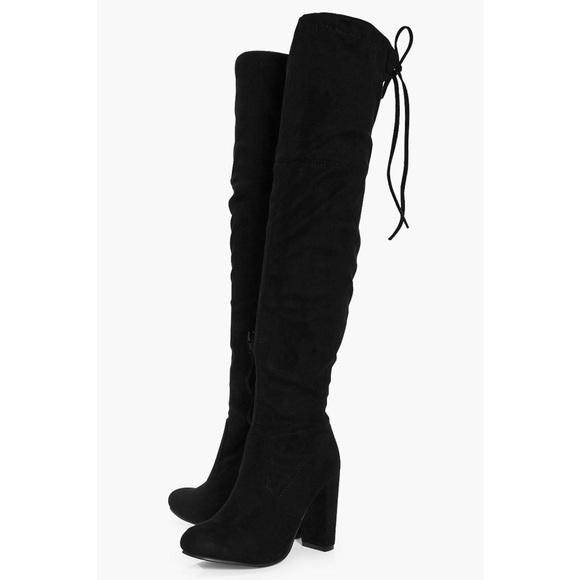6d731e609c8 Boohoo Shoes - Boo Hoo Block Heel Over The Knee Boot